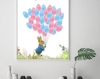 Beatrix Potter Peter Rabbit Baby Shower Guest Book, Fingerprint Baby Shower Alternative Guest Book, Peter Rabbit Christening, Thumb Print