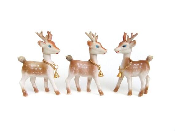 Vintage reindeer figurines christmas decor gold by for Home decor reindeer christmas figurine set