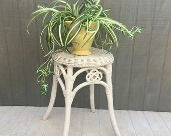Vintage Wicker Stool | Vanity Stool | Rattan Plant Stand | White Wicker Side Table