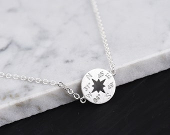 Custom Engraved Compass Bracelet(Sterling Silver): Friendship Bracelet • Best Friend Bracelet • Coordinate Bracelet • Bridesmaid Gift