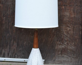 Mid Century Modern Lamp, Mid Century Table Lamp, Teak and Ceramic Lamp, Modern Lamp, Retro Table Lamp, White Table Lamp