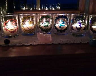 Set of Chakras Votive Stained Glass Candle holders