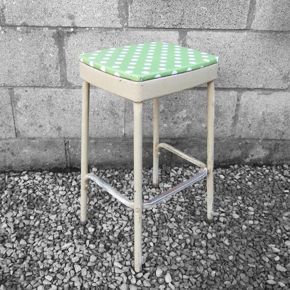 Industrial Polka Dot Bar Stool Seat Green Vintage  PAIR