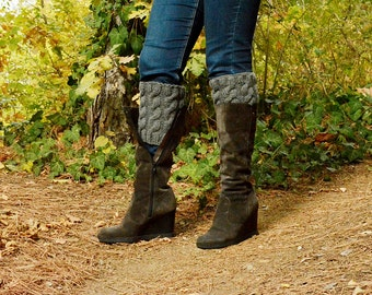 Boot cuffs, Hand Knitted Wool Boot Cuffs #4,  Milky Brown Boot Cuffs, Leg Warmers, Boot Toppers