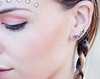 Turquoise Ear Climbers,Climber Earrings,Ear Cuffs,Ear Crawlers,Boho Earrings,Turquoise Earrings,Gypsy Earrings,Ear Sweeps,Earring Pins JE103