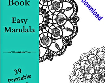 PDF DIGITAL Printable Coloring Book Easy Mandalas Adult Kids Calming Anti