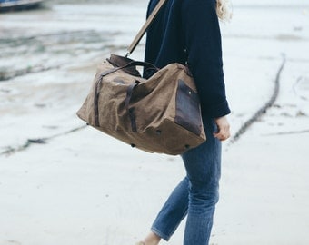 Waxed Canvas Holdall /  Bag with Brown Leather /  Waxed Canvas Rucksack / Laptop Bag / Vintage Holdall