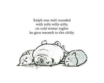 Ralph's Rolls pug art & illustrated poem - pug print or funny card with pug and cats, cat print, greeting card, pug poetry by Inkpug