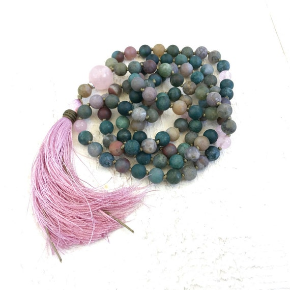 Indian Agate Mala Beads, Protection Mala Necklace, Hand Knotted 108 Bead Mala, Rose Quartz Beads, Yoga Gifts, Natural Healing Mala