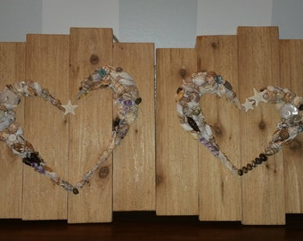 Seashell Heart - Set of Two Wall Plaques