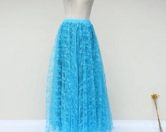 Maxi lace skirt, adult floor length knee length lace dress,blue lace dress