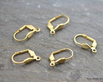 Leverback Ear Wires, Leverback Earrings, Gold Leverback, Earring Hooks, Gold Ear Wires, Matte Gold Plated Ear Wires, Jewelry Making RFG037
