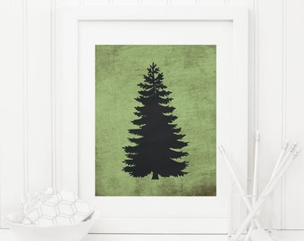 Pine Tree Printable Conifer Tree Print Tree Wall Decor Woodland Nursery Decor Camping Nursery Wall Art Boy Nursery Art Chalkboard Green