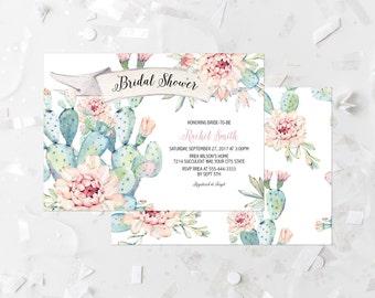 Succulent Bridal Shower Invitation Printable Pastel Cactus Bridal Shower Invite Southwestern Bridal Shower Bridal Brunch Bridal Lunch 267