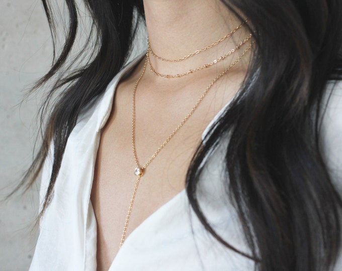 Featured listing image: QUINSCO - Gold Necklace Trio - Gold Chain Chokers - Layered Choker Set