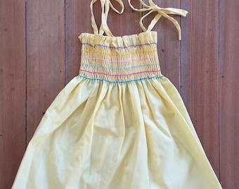 Vintage Yellow Rainbow Smocked Toddler Sun Dress 2-3T