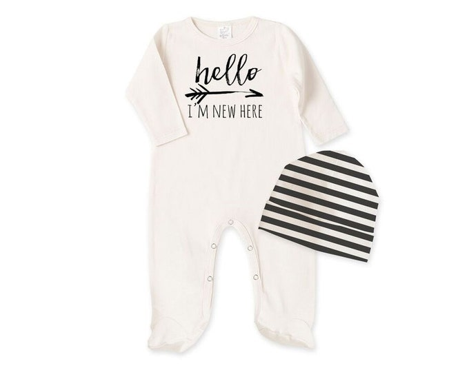 Newborn Baby Coming Home Footie, Newborn Black White Unisex Outfit, Newborn Unisex Footies Bodysuit, Hello I'm New Here Baby Romper Tesababe