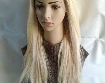 Lace front human hair wig, Harmony range, 22 inches long, blonde, natural roots, custom