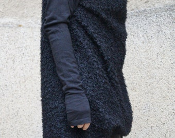 Fluffy Cardigan/Droped Cardigan/Long Vest/Asymmetrical Cardigan/Long Sleeve Push Cardigan/Fashion Cardigan/Vest/Fashion Vest/F1526