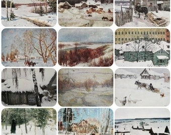 Winter Landscapes - Set of 12 Vintage Soviet Postcards - Printed in the Soviet Union 1950s-1980s. Nature, Trees, Snow, Snowy Town