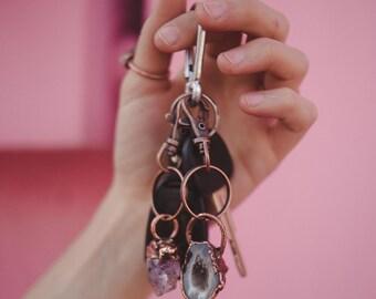 Agate Keychain / Geode Keychain / Crystal Keychain / Agate key fob / Raw Crystal Keychain / Crystal and Copper Keychain