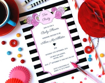 TEA PARTY INVITATION, Baby Shower Invitation, High Tea Baby Shower, High Tea Invite, Personalized Invite, Printable, Black White, You Print