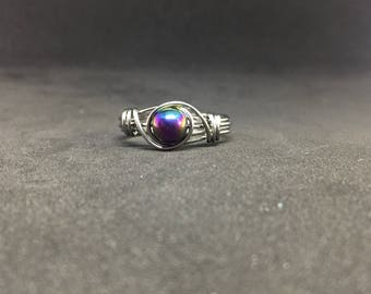 Rainbow Hematite Wire Wrapped Ring