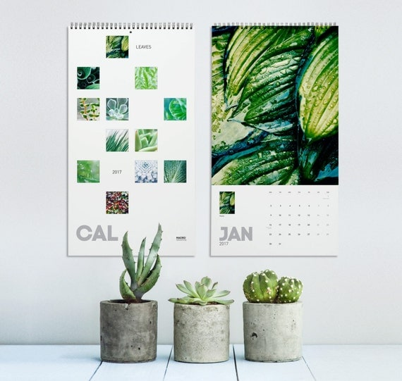 2017 Wall Calendar, Leaf Art, Nature Photography, Plant Art, New Years Gift, Plant Shop Gift, Wall Decor, Succulent Calendar, Home Gifts