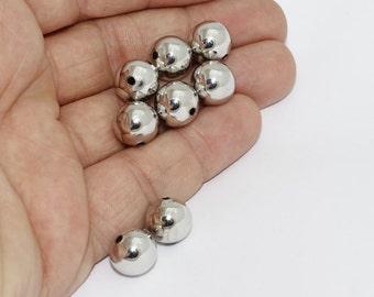 12mm Silver Brass Ball Beads, Hollow Beads, Round Beads, MTE145