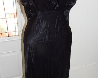 1930s Black Silk Nightgown Art Deco Bias Cut  Silk Lace Handmade Vintage  Nightgown~M/L