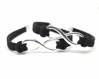 Matching COUPLES INFINITY BRACELETS   His and Hers Infinity Bracelets   Personalized Couples Bracelets   Boyfriend Girlfriend Jewelry