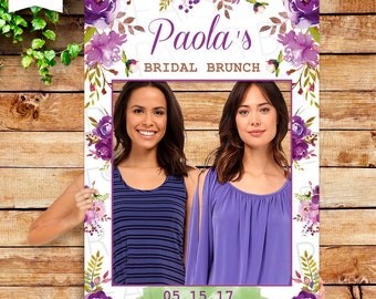 Purple Peonies Photo Booth Frame - Bridal Shower photo booth - Photo Zone - Purple Flowers Bridal Shower - Digital & Premium Paper