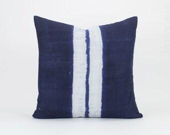 "Vintage Hmong Indigo Pillow - Batik Throw Pillow Cover / Cushion Cover : 20x20"" | Hmong Pillow,  Hill Tribe Pillow, Blue White, Hmong Hemp"