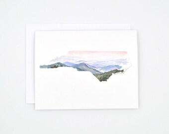 North Carolina State Notecards - North Carolina Art Card - Watercolor Cards - North Carolina Map - Greeting Card - North Carolina Gift