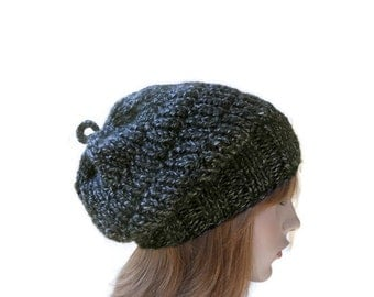 Women's Thick Hat Beret in Black and Gray Melange,Men's Knitted Hat,Slouchy Head Warmer,Chunky Winter Beanie,Warm Headwear,Ready to Ship