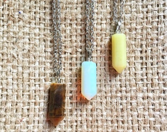 Stone Pencil Pendant, Faceted Stone Necklace, Pencil Pendant, Stone Necklace, Pencil Stone Jewelry, Faceted Stone, Stone Jewelry