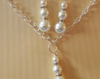 Glass Pearl Necklace & Earring Set