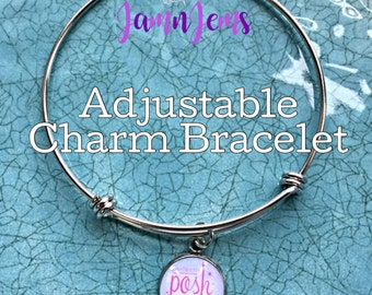 Perfectly Posh Independent Consultant Adjustable Bangle Bracelet and Charm Set|BULK Pricing Option|5 images to chose from|Team Swag