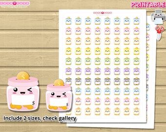 Jar Savings Kawaii Printable Planner stickers. Print and cut at home, come in 2 sizes. Use it on planner like Happy planner, filofax, etc
