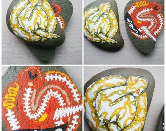 Two Piece Art,Painting,Acylic,Red,Snake,Lizard,Crawler,Insides,Intestings,Yellow,Striped,Hand Painted,Sliced,Rock,Stone,Cut,Bones,Red,White