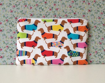 Sausage Dog Print Make Up Bag