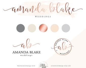 Branding Kit, Premade branding package, Logo design, Feminine logo, Watercolor logo design, rose gold branding, Business logo design, modern