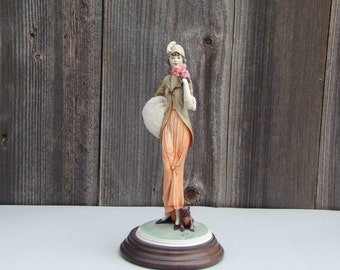 Vintage Capodimonte Porcelain Figurine Very Elegant Lady with Dog Hand made Hand painted Collectibles