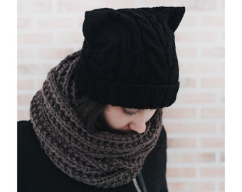 Сat hat, black winter hat, cat ears hat black cat hat, warm hat, chunky knit hat knitted hat kitty hat шапка с ушками knitted hats for women
