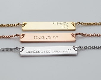 Personalized Necklace, Gift For Girlfriend, Necklace Engraved, Hand  Stamped, Stamped Bar Necklace