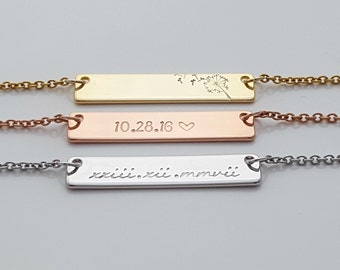 Personalized Necklace, Gift for Girlfriend, Necklace Engraved, Hand Stamped,  Stamped Bar Necklace, Name Plate Necklace, Valentines Gift