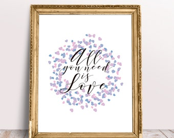 Printable All You Need Is Love Quote, Inspirational Wall Art
