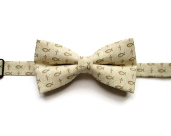 Fish Bow Tie - Boys Bow Tie - Bow Tie for Boys - Pre-tied Bow Tie - Ichthus Bow Tie - First Communion - Kids Bowtie