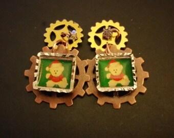 Steampunk Christmas earrings