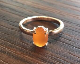 CARNELIAN, Solid 9k Rose Gold, Carnelian Stackable Ring, Rose Gold Stacker, Orange Stacking Ring, Clawset Ring, Rose Ring, Orange Stone Ring